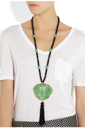 Kenneth Jay Lane Beaded resin and gold-plated necklace