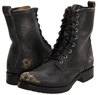 Frye Veronica Combat (Chocolate Waxed Vintage Suede) Women's Lace-up Boots