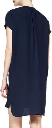 Vince Short-Sleeve Popover Dress, Deep Indigo