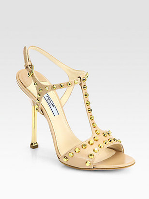Prada Studded Saffiano Patent Leather T-Strap Sandals