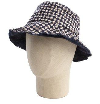 Hat Attack chocolate geometric print cotton reversible sun hat