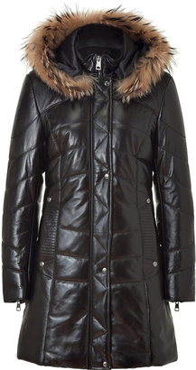 Ventcouvert Black Alaska Fur Trim Hooded Coat