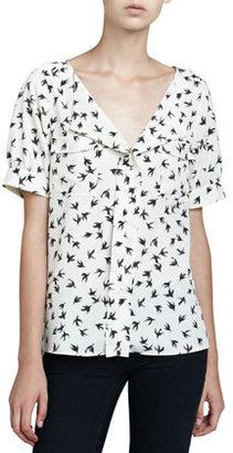 Cooper & Ella Short-Sleeve Bird-Print Blouse