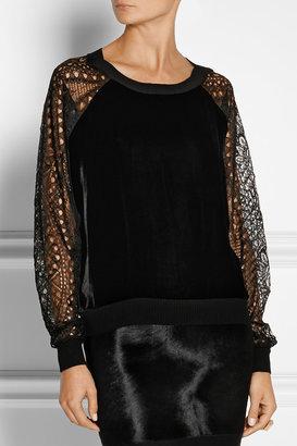 Emilio Pucci Lace-sleeved velvet sweatshirt