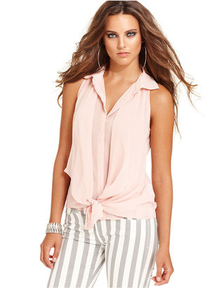 GUESS Top, Sleeveless Tie Blouse