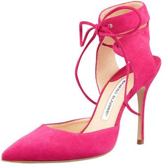 Manolo Blahnik Lara Ankle-Wrap Pointy Suede d'Orsay, Fuchsia