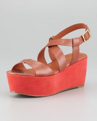 Pour La Victoire Noelle Colorblock Platform Sandal, Cognac