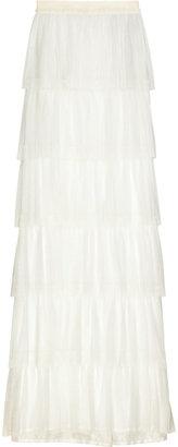 Lanvin Silk-blend tiered maxi skirt