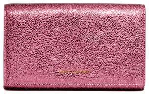 Saint Laurent Metallic Logo-Lettered Wallet-on-a-Chain, Pink