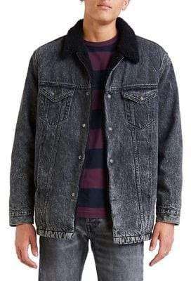 Levi's Premium Faux Fur Lined Long Denim Trucker Jacket