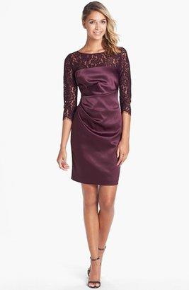 Eliza J Lace & Satin Sheath Dress