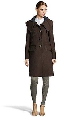BCBGMAXAZRIA mahogany wool blend shawl collar coat