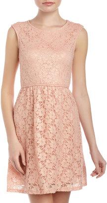 Romeo & Juliet Couture Crochet Lace Open-Back Dress, Apricot