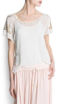 MANGO Appliqués chiffon blouse