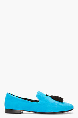 Giuseppe Zanotti Bright Blue Tassled Suede Kevin Loafers