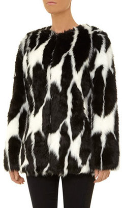 Dorothy Perkins DP Collection black and white faux fur coat