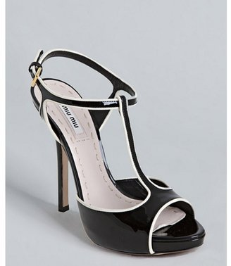 Miu Miu Miu black patent leather t-strap platform pumps