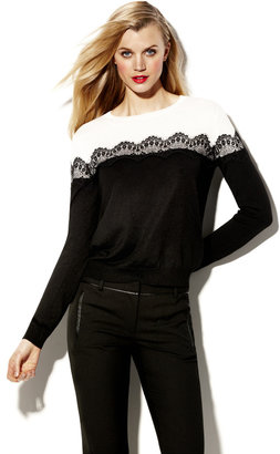 Vince Camuto Lace Trim Colorblock Sweater