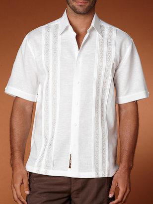 Cubavera Short Sleeve Linen Cotton Embroidered Shirt