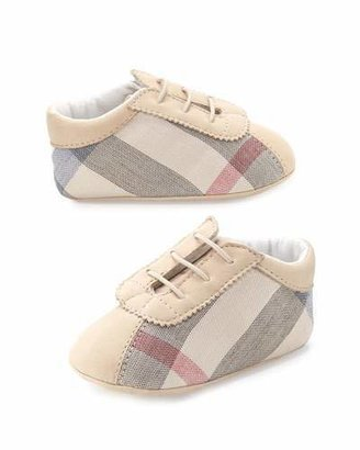 Burberry Bosco Check Newborn Boys' Shoes, Stone $150 thestylecure.com