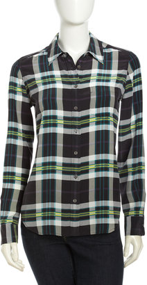 Equipment Bret Long Sleeve Plaid Shirt, Multicolor Pine