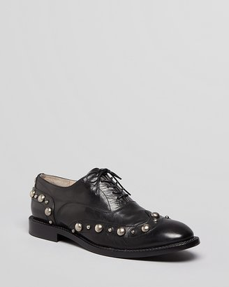 Marc Jacobs Lace Up Oxford Flats - Resina Cabouchon Stud