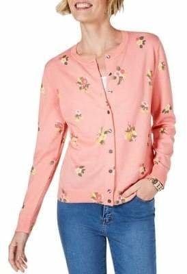 Karen Scott Floral-Print Cotton Blend Cardigan