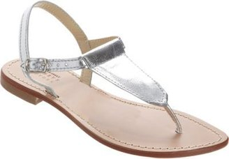 Barneys New York Metallic T-Strap Thong Sandal