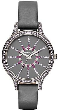 Liz Claiborne Gray Leather Watch with Crystal Accents