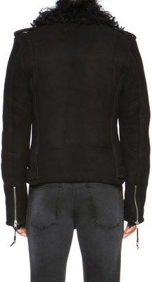 BLK DNM Shearling Motorcycle Jacket in Black