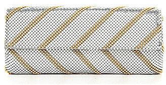 Kate Landry Metal Mesh Striped Flap Clutch