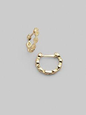 """Zasha Diamond & 14K Yellow Gold Hoop Earrings/½"""""""