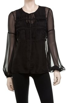 Max Studio Silk Chiffon Detailed Blouse