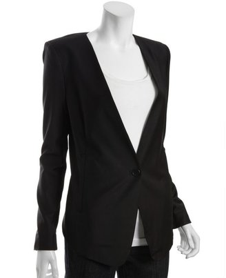 BCBGMAXAZRIA black wool-blend woven tailored drop front blazer