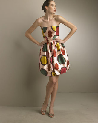 Oscar de la Renta Ikat Strapless Bubble Dress