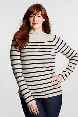 Lands' End Women's Plus Size Stripe Cashmere Funnelneck Sweater