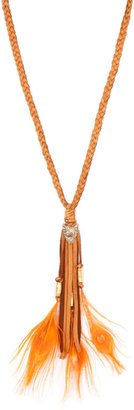 Cynthia Dugan Leather Necklace with Orange Feathers in Tan Leather -