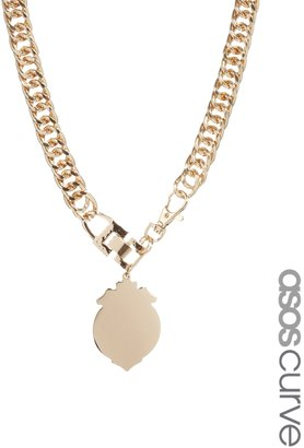 Asos Exclusive Shield Chain Necklace - Gold