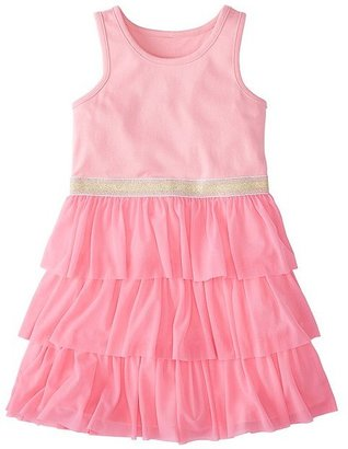 Girls Swish Sparkle Dress With Tulle Tiers $46 thestylecure.com