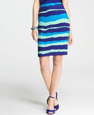 Ann Taylor Paintbrush Stripe Stretch Cotton Skirt