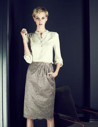 Boden Metallic Lace Pencil Skirt