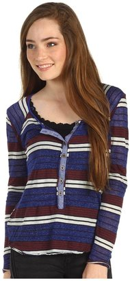 Free People Striped Old School Henley (Cobalt Combo) - Apparel