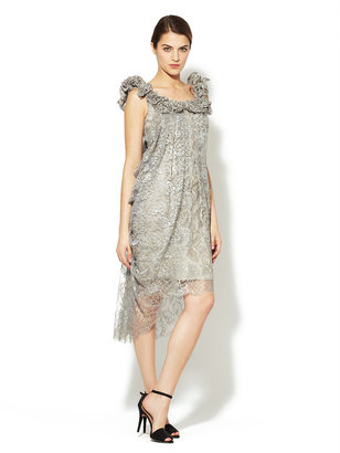 Marchesa Silk Metallic Beaded Neckline Dress