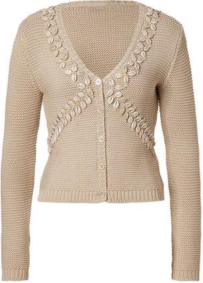 Moschino Cheap & Chic Sand Shell Embellished Cotton Cardigan