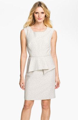 Donna Ricco Metallic Polka Dot Peplum Dress