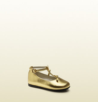 Gucci Metallic Gold Leather Ballet Flat
