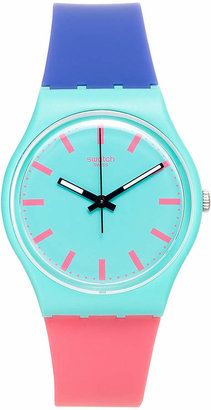 Swatch Unisex Swiss Shunbukin Blue and Pink Silicone Strap Watch 34mm GG215 $50 thestylecure.com