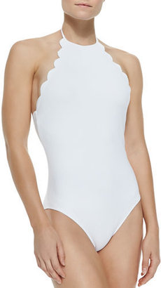 Marysia Mott Halter One-Piece Swimsuit W/ Scalloped Edges $319 thestylecure.com