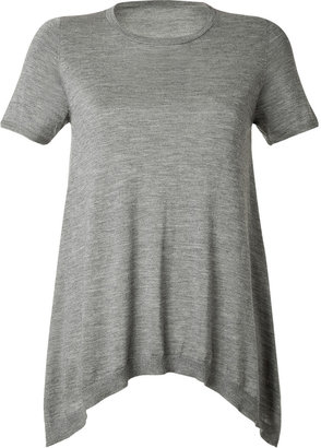 Brunello Cucinelli Heather Grey Cashmere-Silk A-Line T-Shirt