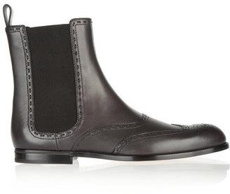 Bottega Veneta Brogue-detailed leather Chelsea boots